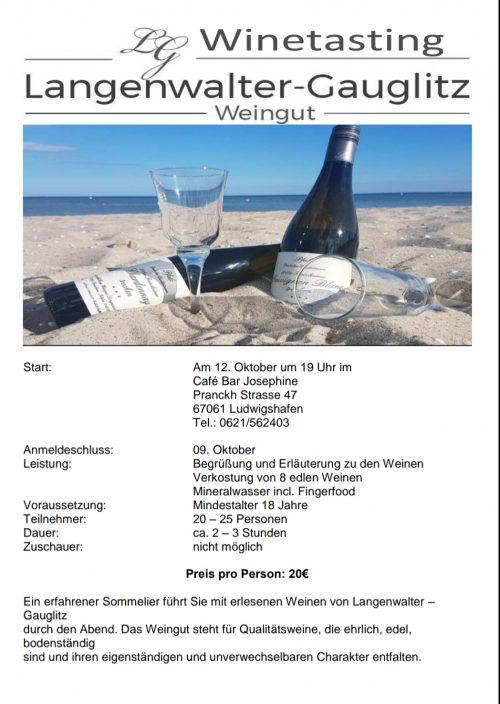 Winetasting am 12. November um 19 Uhr in Ludwigshafen